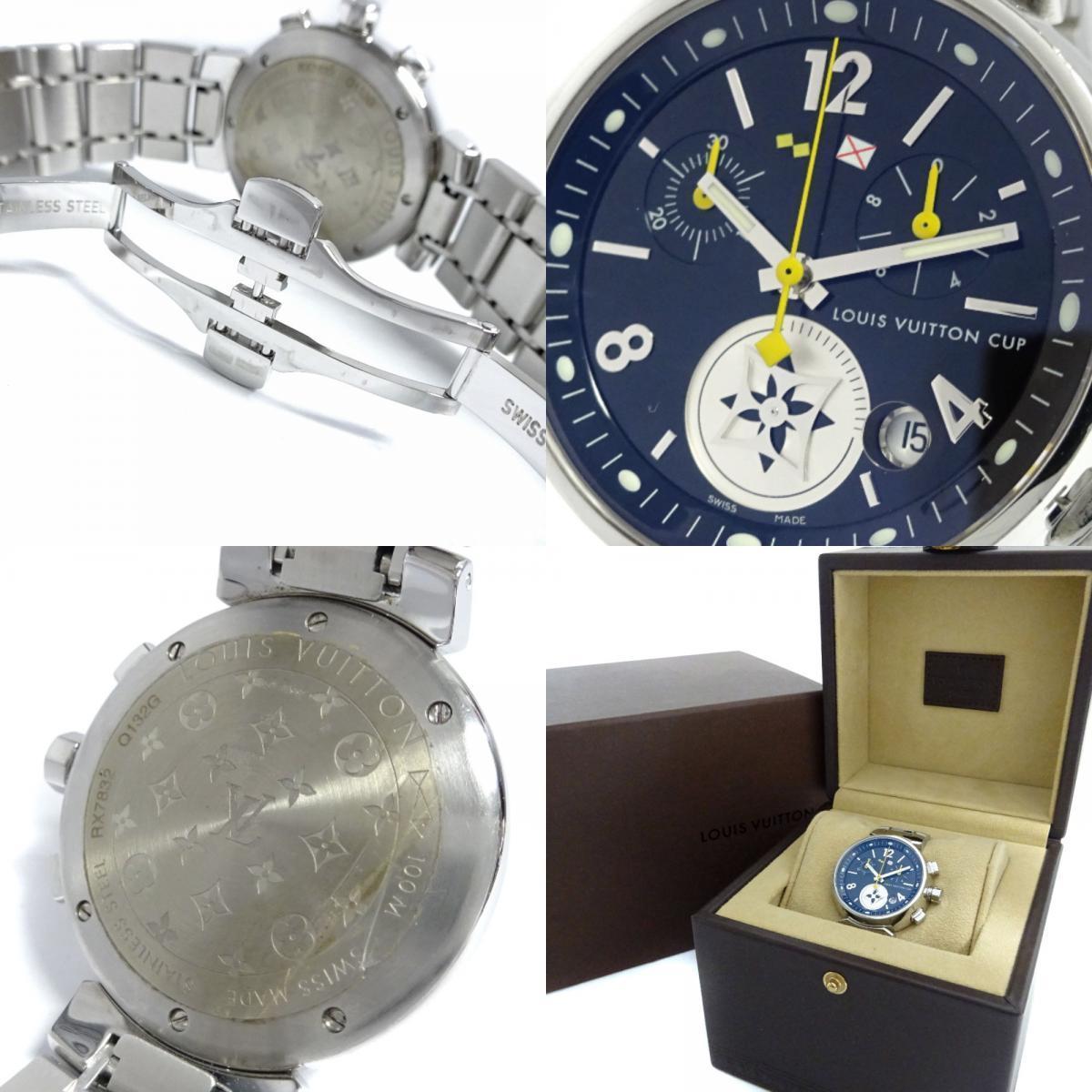 即決 ルイ ヴィトン タンブール ラブリーカップMM ボーイズ 腕時計 レディース クオーツ ブラック文字盤 シルバー Q132G_画像10