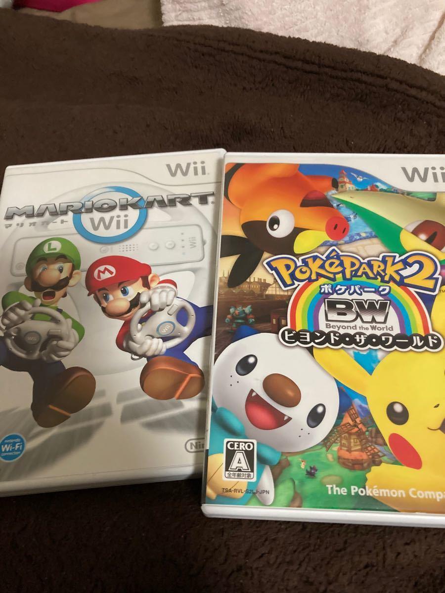 Wii マリオカート と ポケパーク2 Beyond the World 中古 マリオカートのハンドルなし
