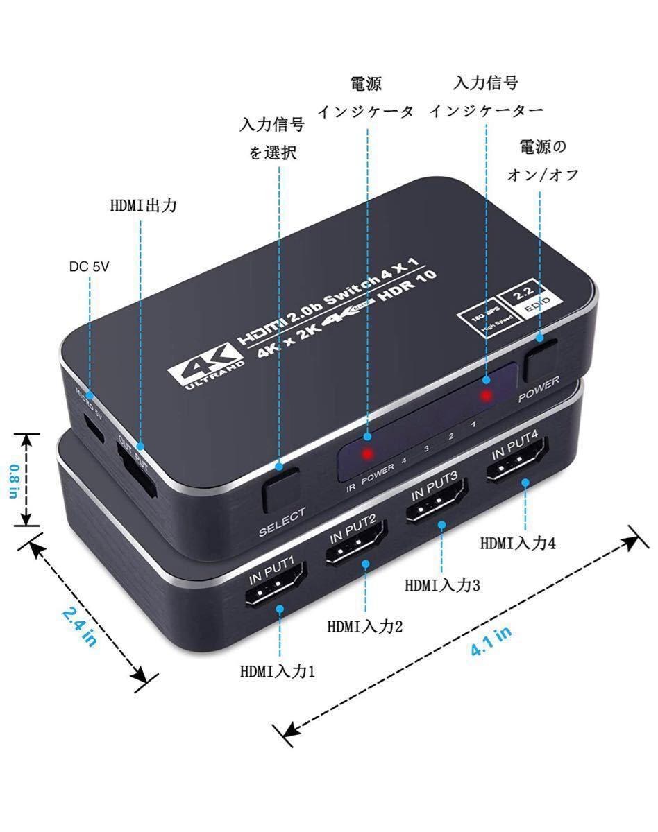 HDMI切替器 4入力1出力 HDMIスイッチャー HDMIセレクター 自動手動切替