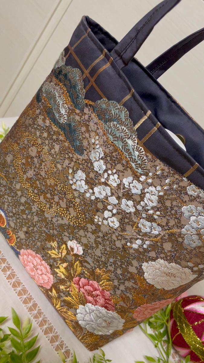 帯リメイクバッグ 金彩に花々1234トートバッグ 帯バック お稽古バッグ フォーマル ハンドメイド
