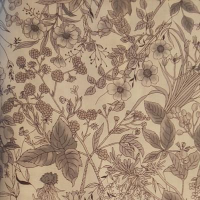 YUWA 綿100%葉っぱと木の実のボタニカル柄 シーチング生地 モノクロ 生地巾約110cm×約50cm