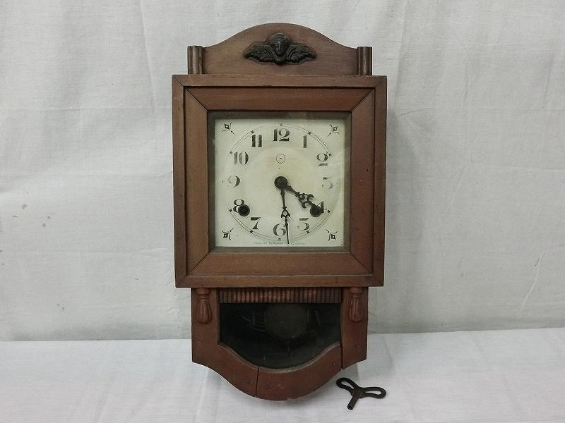 B3720 精工舎 セイコー 手巻 木製枠 振り子時計 アンティーク 柱時計 掛時計