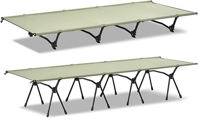 アジャスタブル コット 2WAY アウトドア ベッド 軽量 折りたたみ式収納袋付