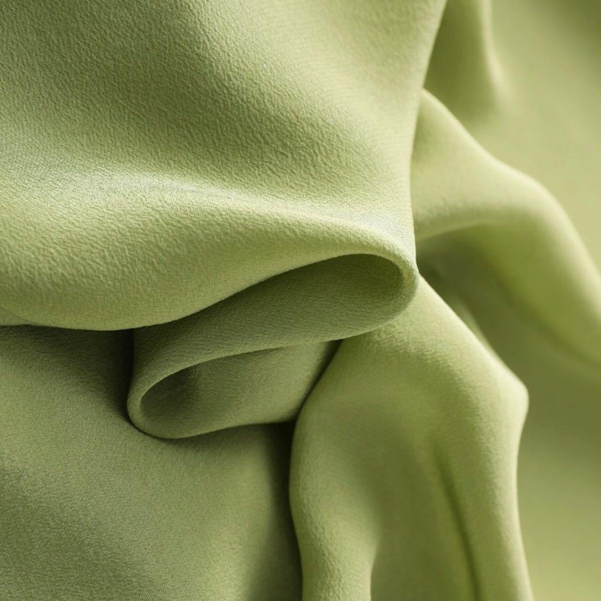 シルク絹100%  カットソー Tシャツ 半袖 フリー グリーン着丈59身幅53