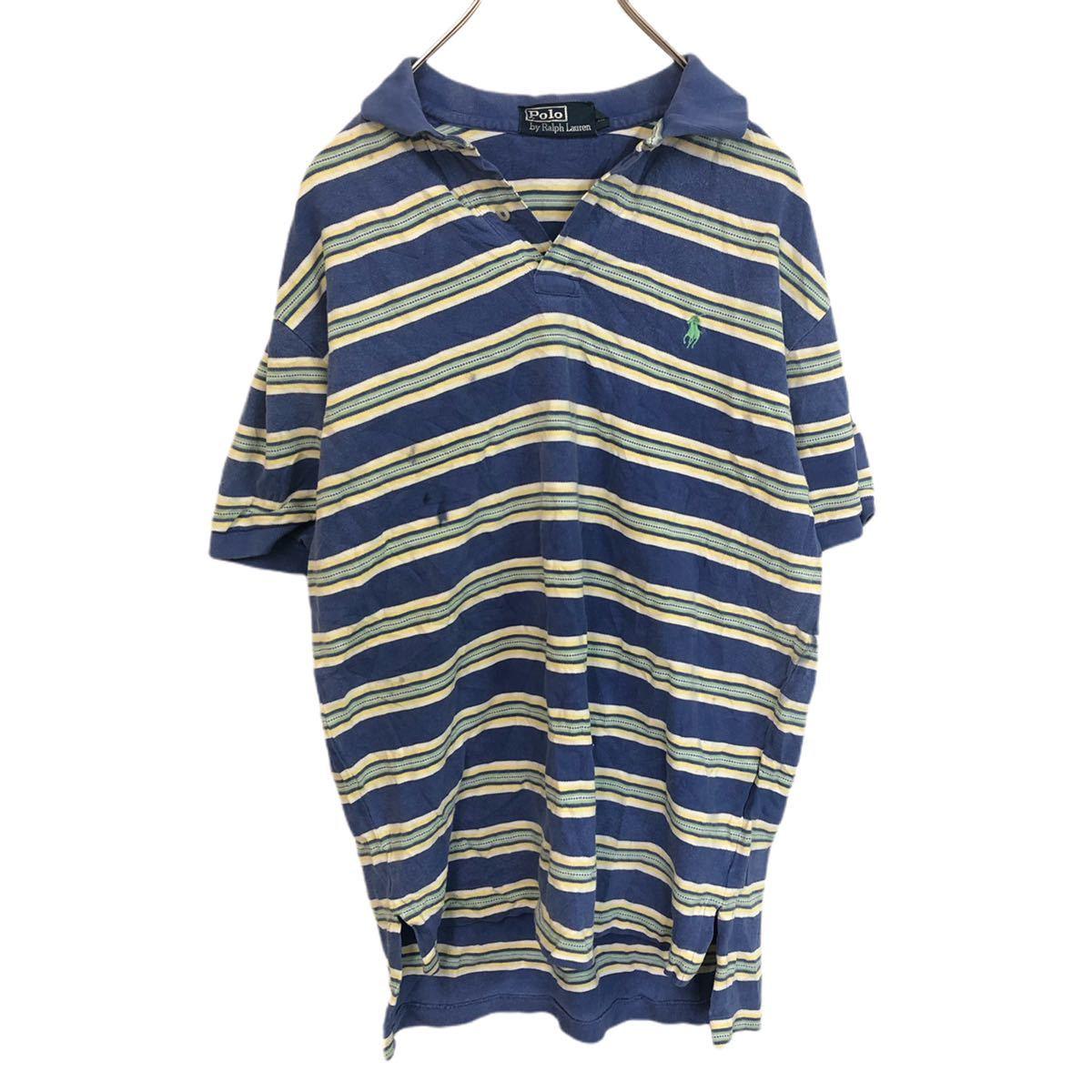 POLO by RALPH LAUREN ポロバイラルフローレン 半袖 ポロシャツ メンズM 太ボーダー ワンポイント刺繍ロゴ ポニー YT1684AY_画像1