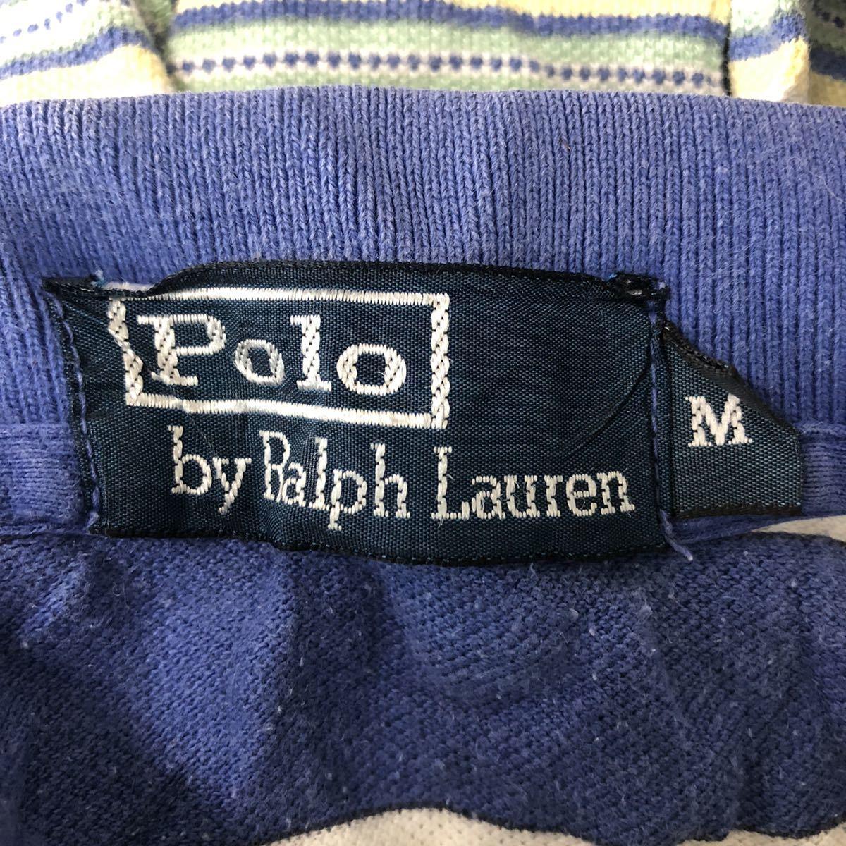 POLO by RALPH LAUREN ポロバイラルフローレン 半袖 ポロシャツ メンズM 太ボーダー ワンポイント刺繍ロゴ ポニー YT1684AY_画像5
