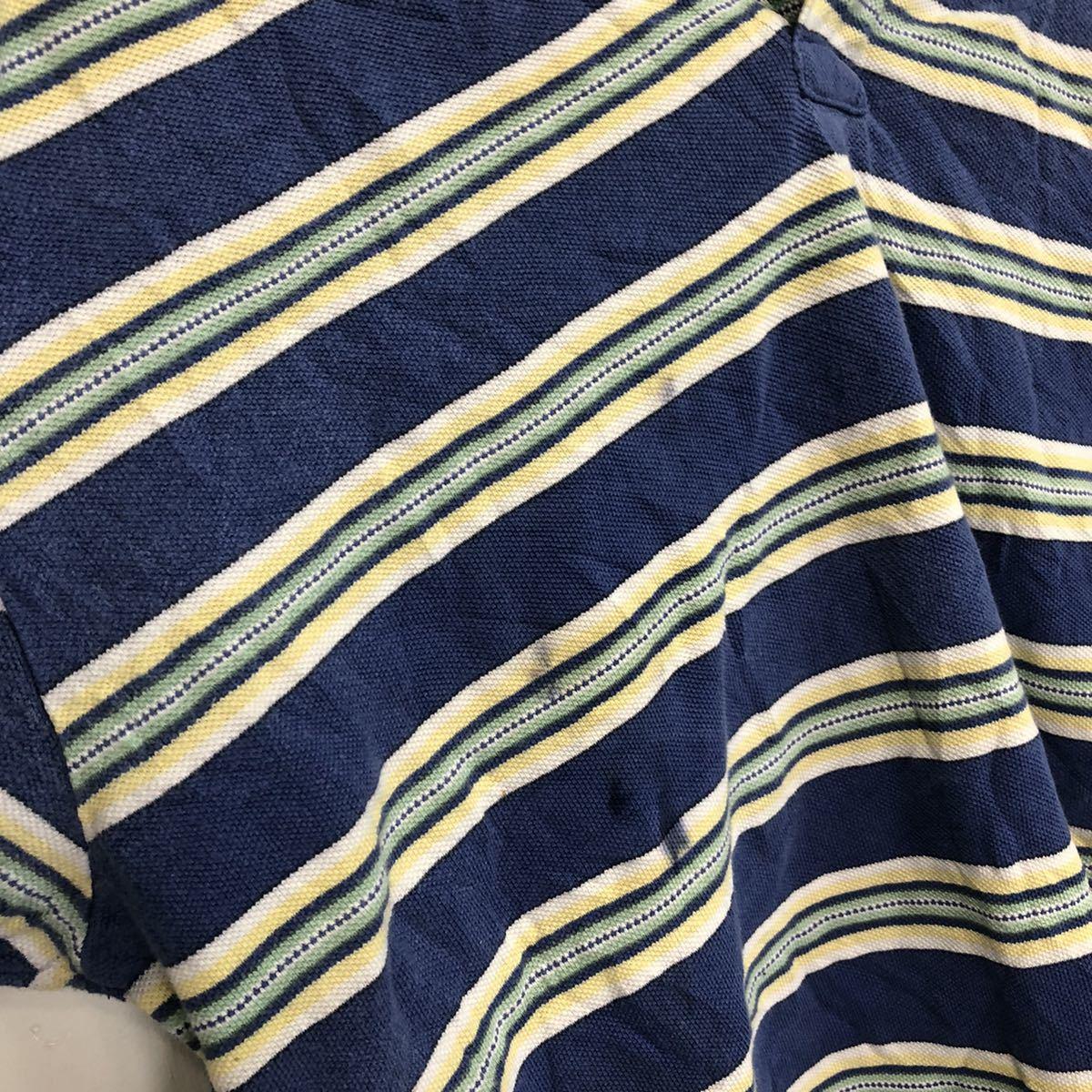 POLO by RALPH LAUREN ポロバイラルフローレン 半袖 ポロシャツ メンズM 太ボーダー ワンポイント刺繍ロゴ ポニー YT1684AY_画像3