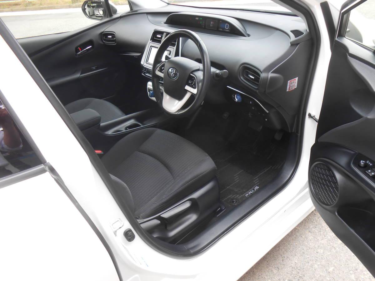 28年式 50系 プリウス S 4WD 163,000キロ SDナビ TV Bカメラ ETC LEDヘッドライト/フォグ Egスターター セーフティセンス 付 車検5年4月_ルームクリーニング施工済