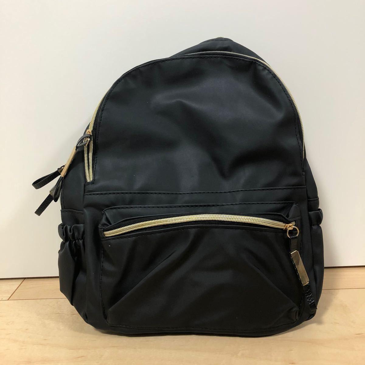マザーズバッグ リュック 黒 大容量 シンプル 通学 通勤 韓国 防水 軽量 ゴールド 収納 A4サイズ レザー 高級感 新品