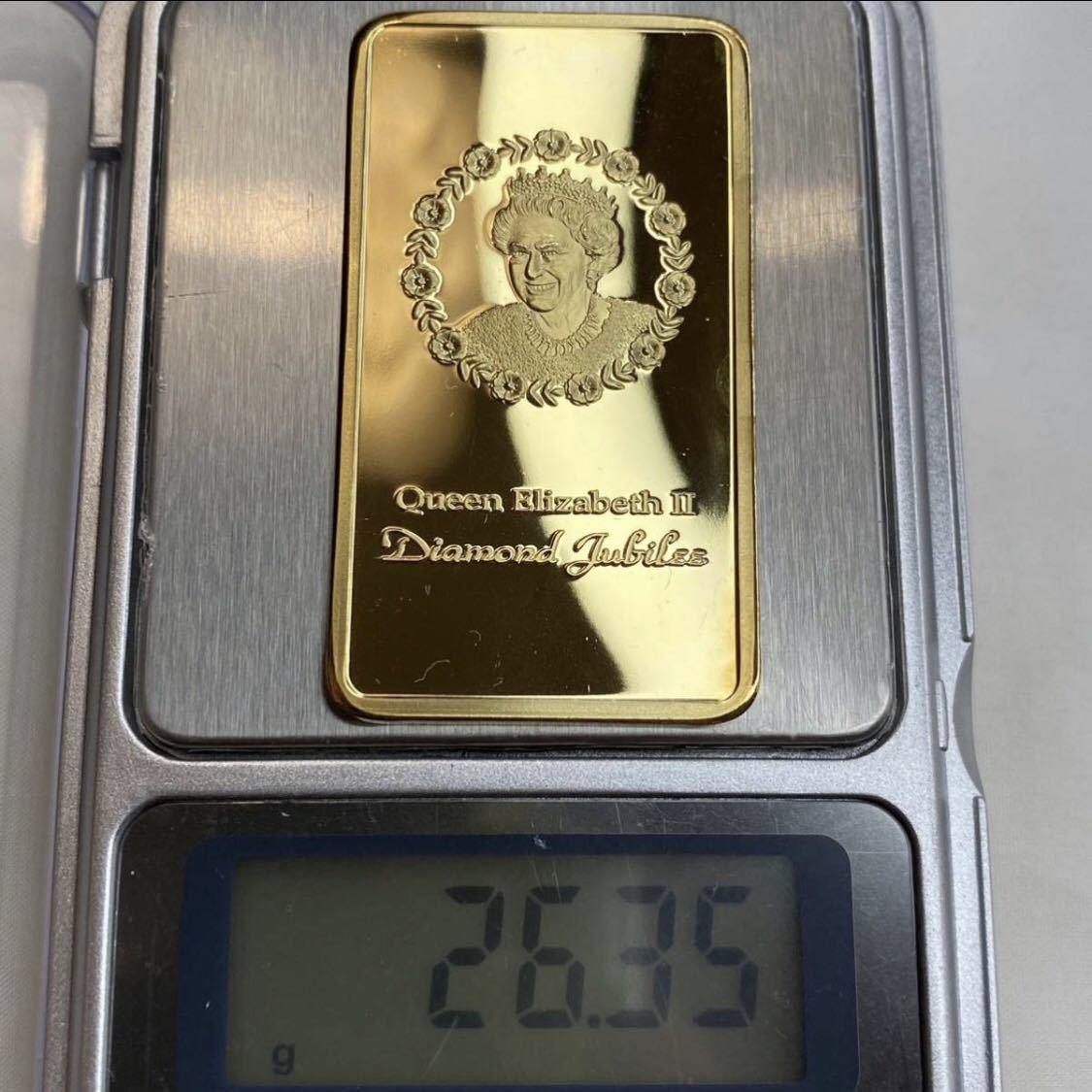 (2-048) 外国金貨 エリザベスⅡ女王 記念メダル 地金バー インゴット 現物資産 海外古銭コイン 貴重品所蔵品 貨幣 完全限定発行