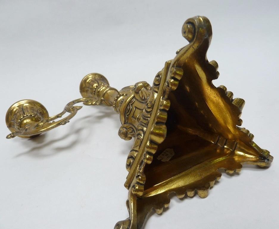 ☆アンティーク キャンドルスタンド 3灯 燭台 ろうそく台 キャンドルホルダー ゴールド ヴィクトリアン レトロ 真鍮製 ゴシック バロック_画像8