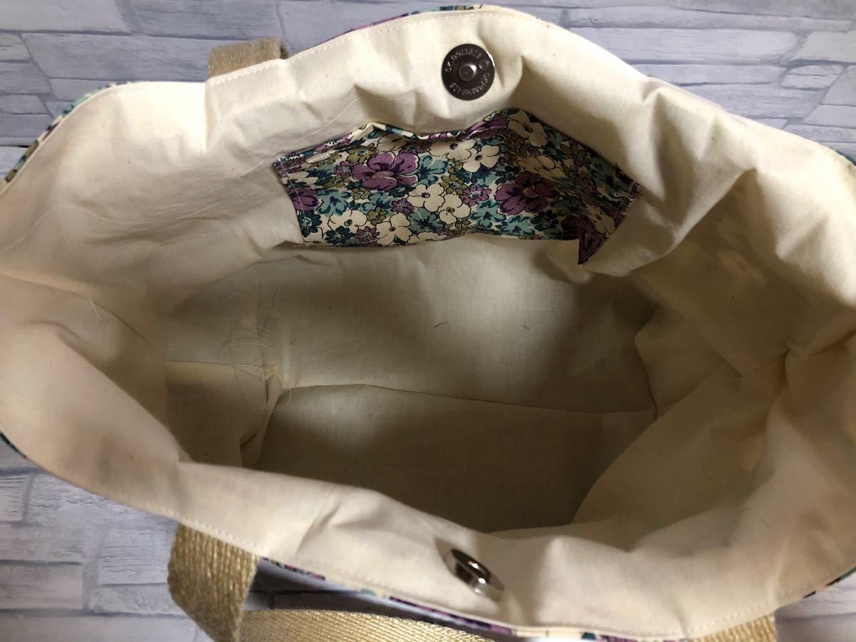 トートバッグ 帆布 ランチバッグ 花柄 ハンドメイド