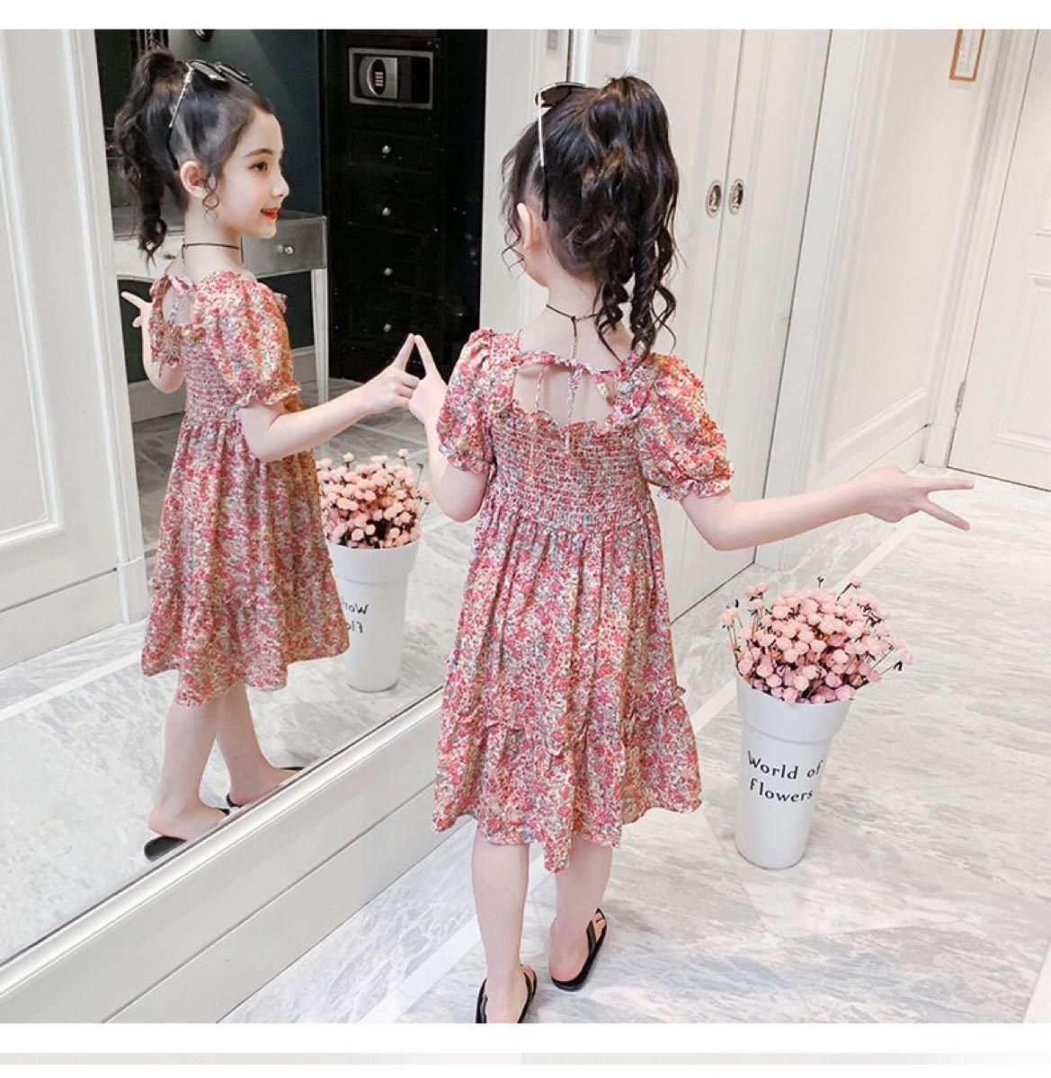 ワンピース 子供ワンピース 花柄ワンピース スクエアネック 女の子 キッズ服