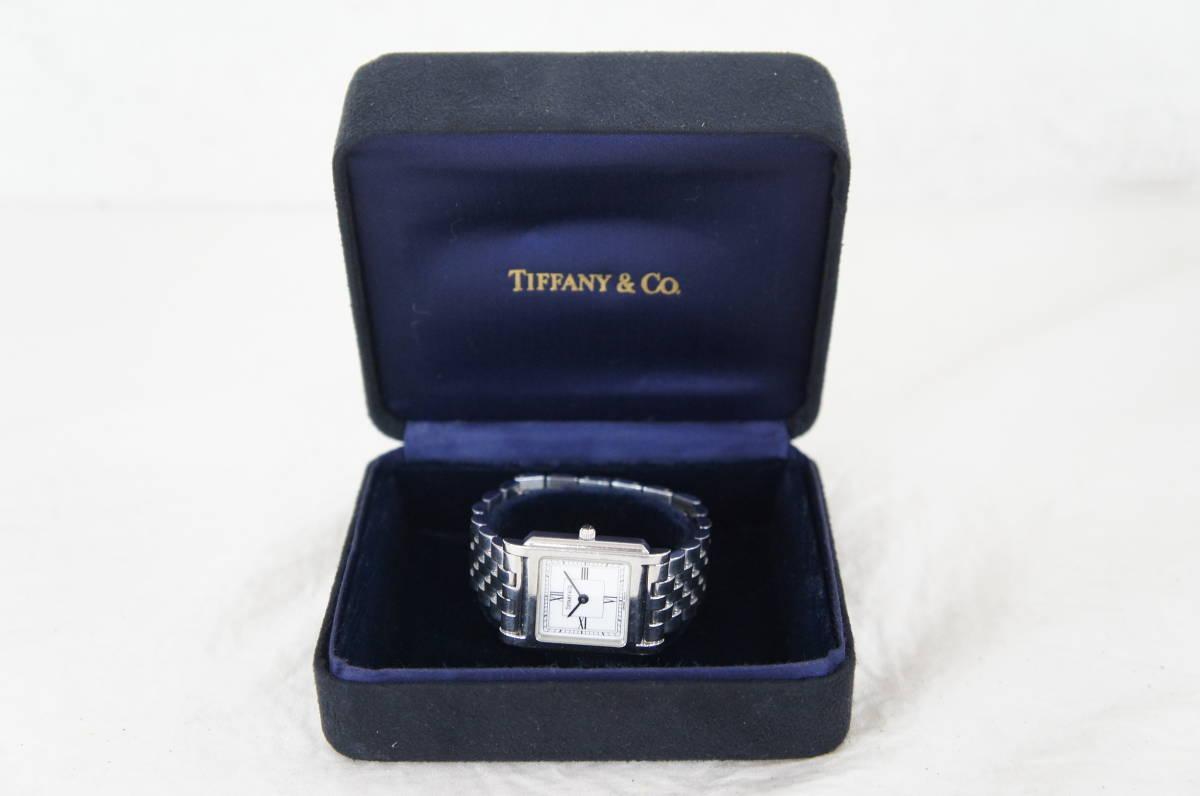 電池交換済 稼働品 TIFFANY&Co. ティファニー クラシックスクエア レディース クォーツ 腕時計 箱付き 60 05N901