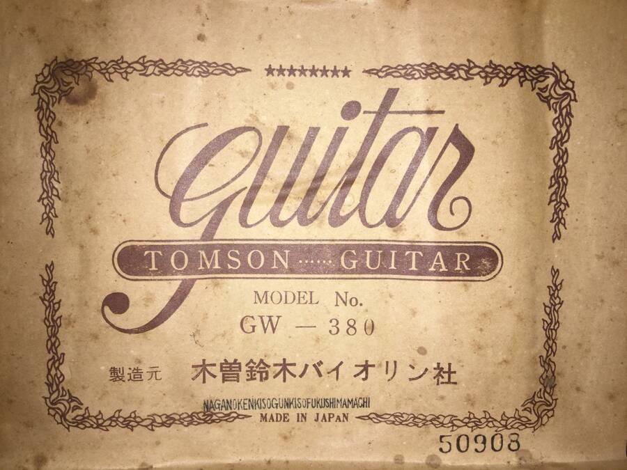 TOMSON トムソン GW-380 アコースティックギター シリアルNo.50908★現状品_画像3