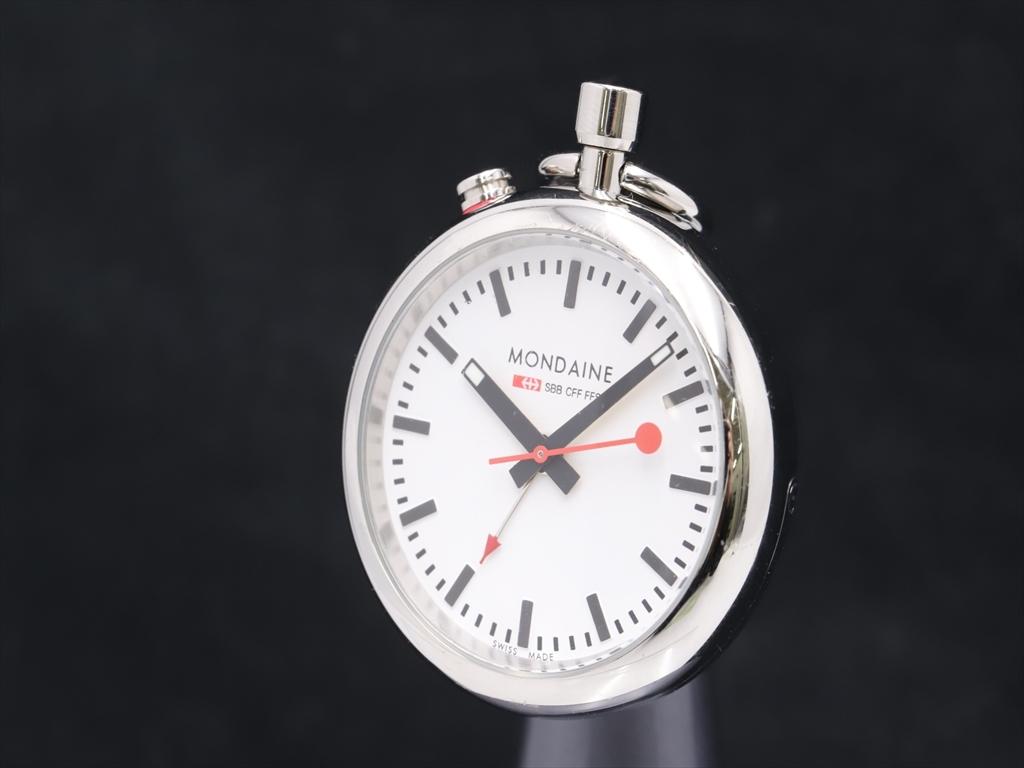 1円★稼働◎良品【モンディーン】懐中時計 ホワイト文字盤 シルバーカラー QZ メンズ時計 A0084059