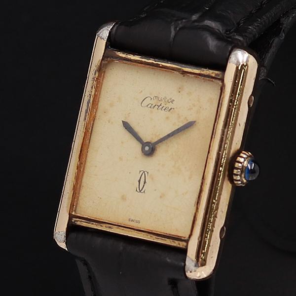 1円●稼働品【Cartier カルティエ】手巻き マストタンク ARGENT 925 希少アンティーク メンズ腕時計 840A0086049