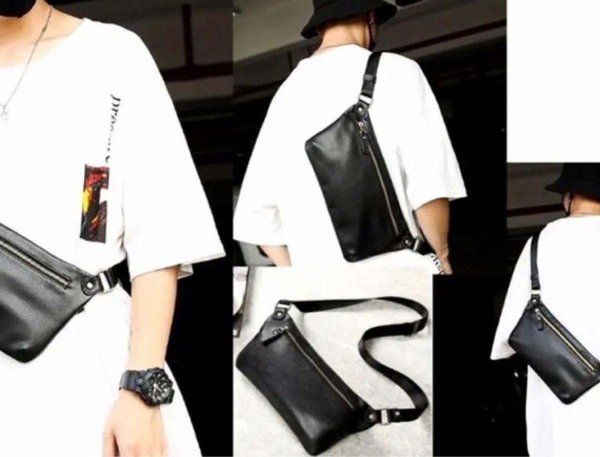 ボディバッグ ウエストポーチ サコッシュ レザー 黒 シンプル ストリート 韓国 メンズ レディース PUレザー