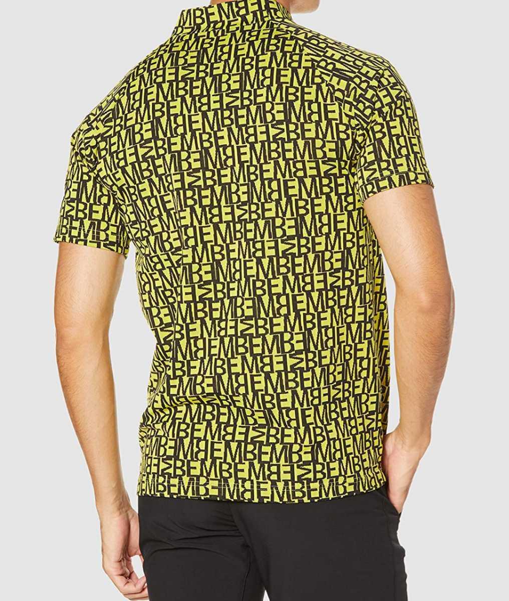 新品正規品 マスターバニー パーリーゲイツ サイズ5 総柄ロゴ ジャガード 軽量 ハイネック シャツ イエロー 送料無料_画像3