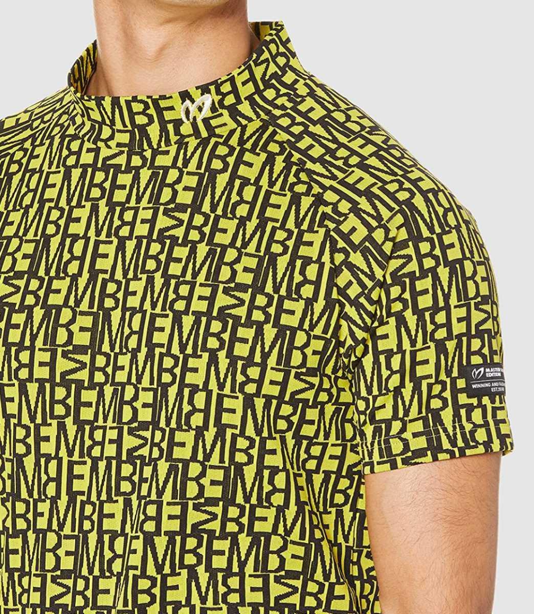 新品正規品 マスターバニー パーリーゲイツ サイズ5 総柄ロゴ ジャガード 軽量 ハイネック シャツ イエロー 送料無料_画像4