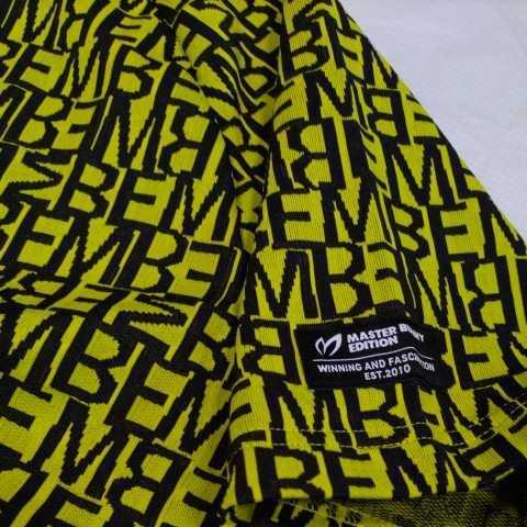 新品正規品 マスターバニー パーリーゲイツ サイズ5 総柄ロゴ ジャガード 軽量 ハイネック シャツ イエロー 送料無料_画像10