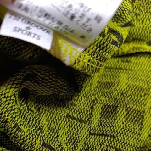 新品正規品 マスターバニー パーリーゲイツ サイズ5 総柄ロゴ ジャガード 軽量 ハイネック シャツ イエロー 送料無料_画像8