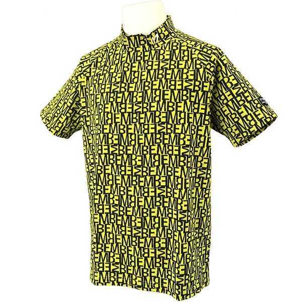 新品正規品 マスターバニー パーリーゲイツ サイズ5 総柄ロゴ ジャガード 軽量 ハイネック シャツ イエロー 送料無料_画像1