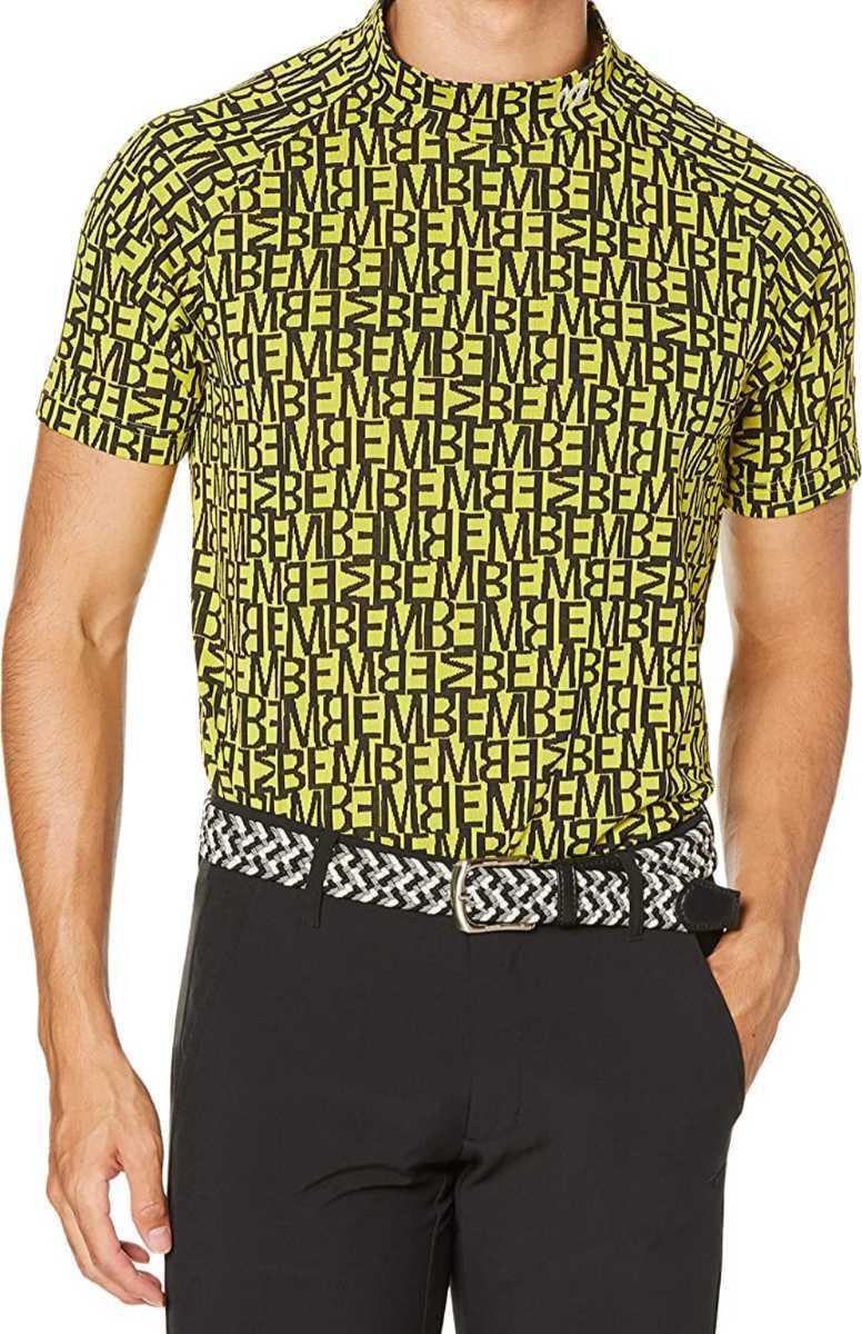 新品正規品 マスターバニー パーリーゲイツ サイズ5 総柄ロゴ ジャガード 軽量 ハイネック シャツ イエロー 送料無料_画像2