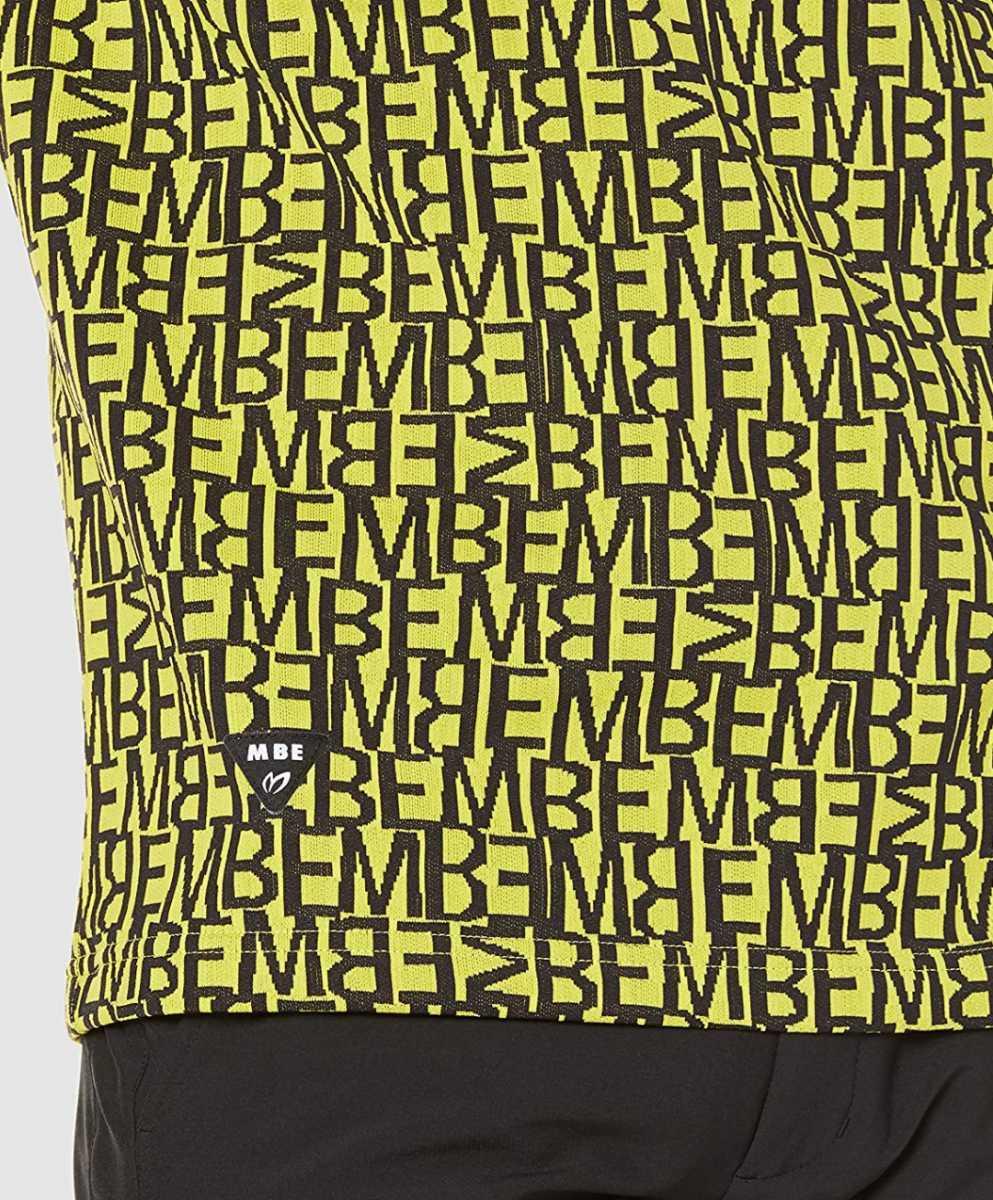 新品正規品 マスターバニー パーリーゲイツ サイズ5 総柄ロゴ ジャガード 軽量 ハイネック シャツ イエロー 送料無料_画像5