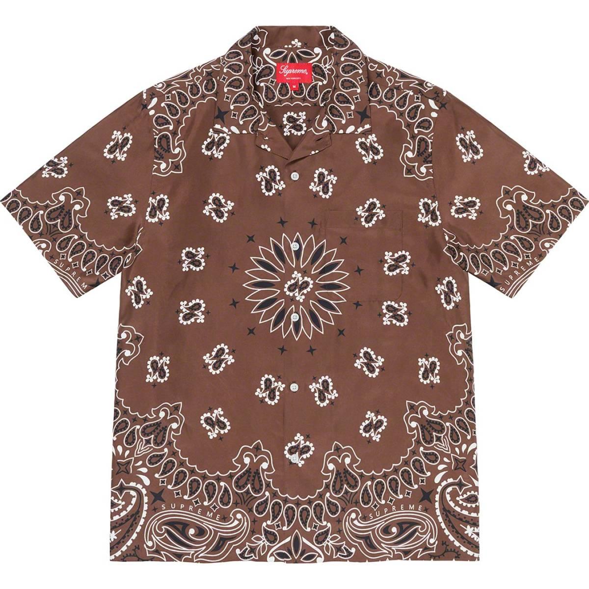 【新品未開封】Supreme Bandana Silk S/S Shirt Brown Medium 21SS 正規品付属品完備 バ