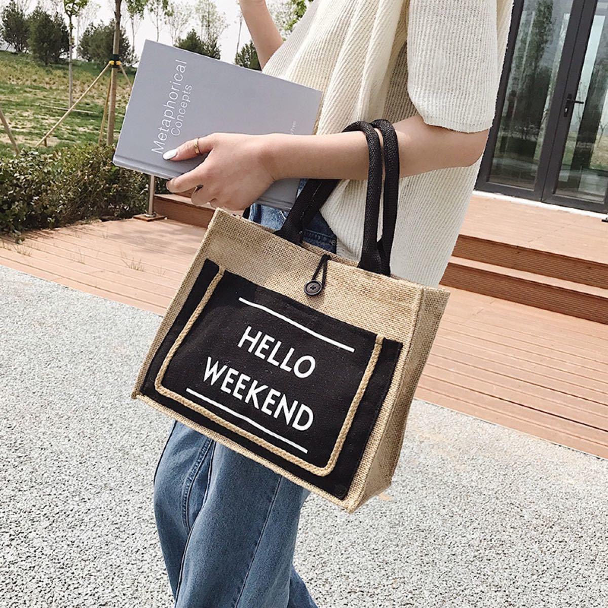 夏 トート ジュート素材 英字ロゴバッグ ショルダー 通勤 通学 カゴバック エコバッグ