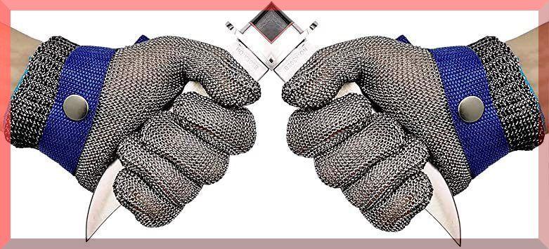 L(二つ入り) 防刃レベル9軍手 耐切創 作業用手袋 料理用 防災用品 ステンレス鋼メッシュ防護手袋 切れない (二つ入り)左右