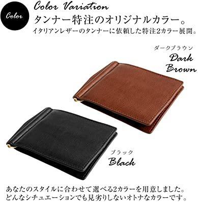 ブラック DomTeporna Italy マネークリップ メンズ 小銭入れ付き 本革 イタリアンレザー 薄型 二つ折り財布 カ_画像7
