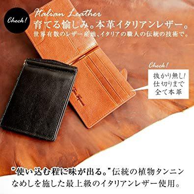 ブラック DomTeporna Italy マネークリップ メンズ 小銭入れ付き 本革 イタリアンレザー 薄型 二つ折り財布 カ_画像2