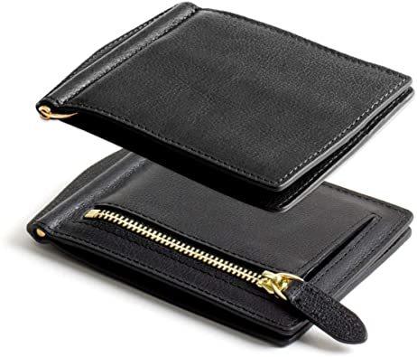 ブラック DomTeporna Italy マネークリップ メンズ 小銭入れ付き 本革 イタリアンレザー 薄型 二つ折り財布 カ_画像1