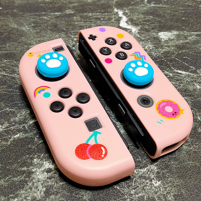 【即日~翌日発送】Pac-Man パックマン ゴースト スイッチ カバー 任天堂 Switch 保護 ソフト ケース 分離式 かわいい ピンク さくらんぼ_画像4