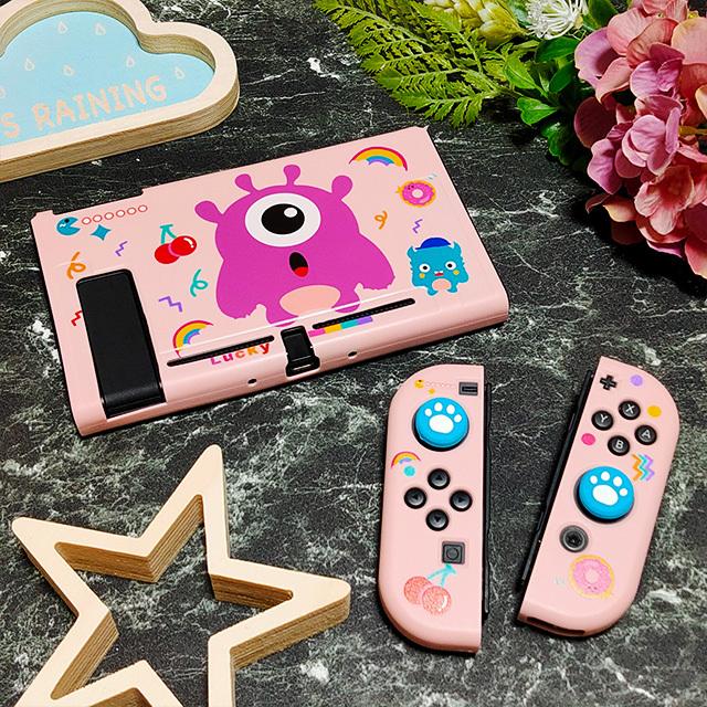 【即日~翌日発送】Pac-Man パックマン ゴースト スイッチ カバー 任天堂 Switch 保護 ソフト ケース 分離式 かわいい ピンク さくらんぼ_画像1