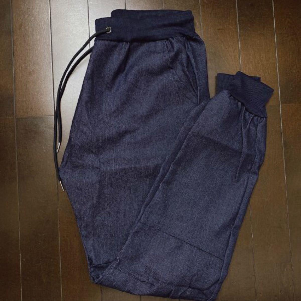 メンズ デニムジョガーパンツ スキニー ジーンズ デニム調 ネイビー XLサイズ