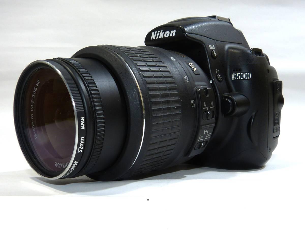 デジタルカメラ ニコン中古一眼レフ 動作確認済 Nikon D5000  純正 ズームレンズ キット18-55mm 1230画素 4GSDHC 純正バッテリー_画像2