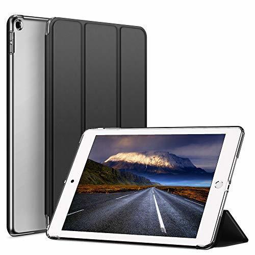色ダークブラック KenKe iPad 9.7インチ 2018/2017 半透明 ケース軽量 薄型 耐衝撃 PUレザー 三つ折スタ_画像1