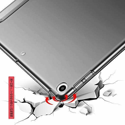 色ダークブラック KenKe iPad 9.7インチ 2018/2017 半透明 ケース軽量 薄型 耐衝撃 PUレザー 三つ折スタ_画像6