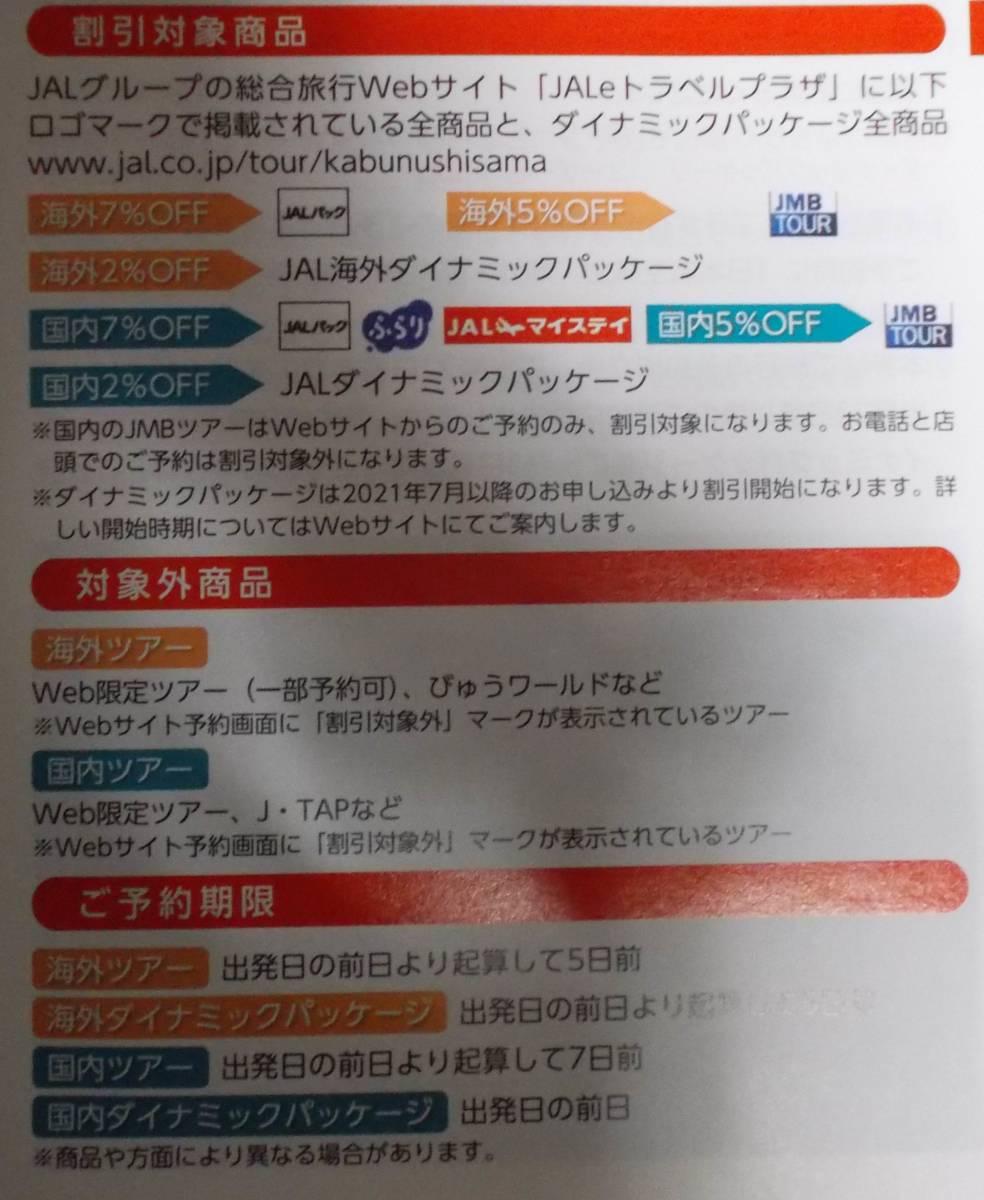宛先変更可 海外ツアー割引券 2022年5月まで 2枚まで 株主優待券 ジャルパック 日本航空株主 JALPAK_画像2