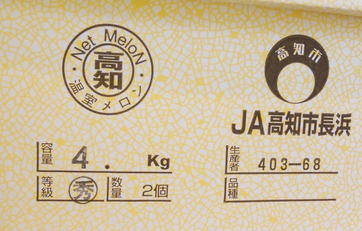 1円スタート!【高知県長浜産】温室メロン 秀 2玉 約4kg ご家庭用 ご贈呈用 ★_画像3