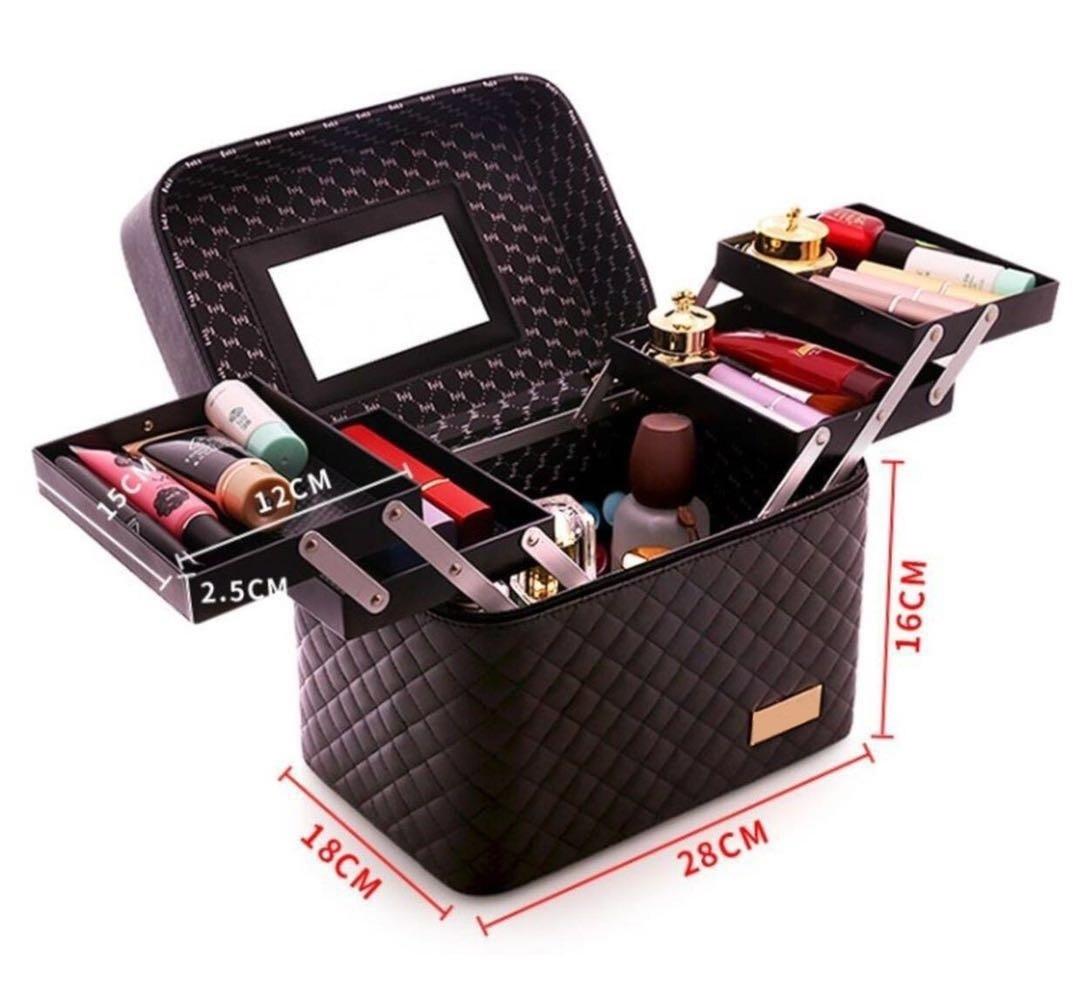 メイクボックス コスメボックス 大容量 化粧箱 収納ケース 小物入 ミラー付 ブラック_画像8