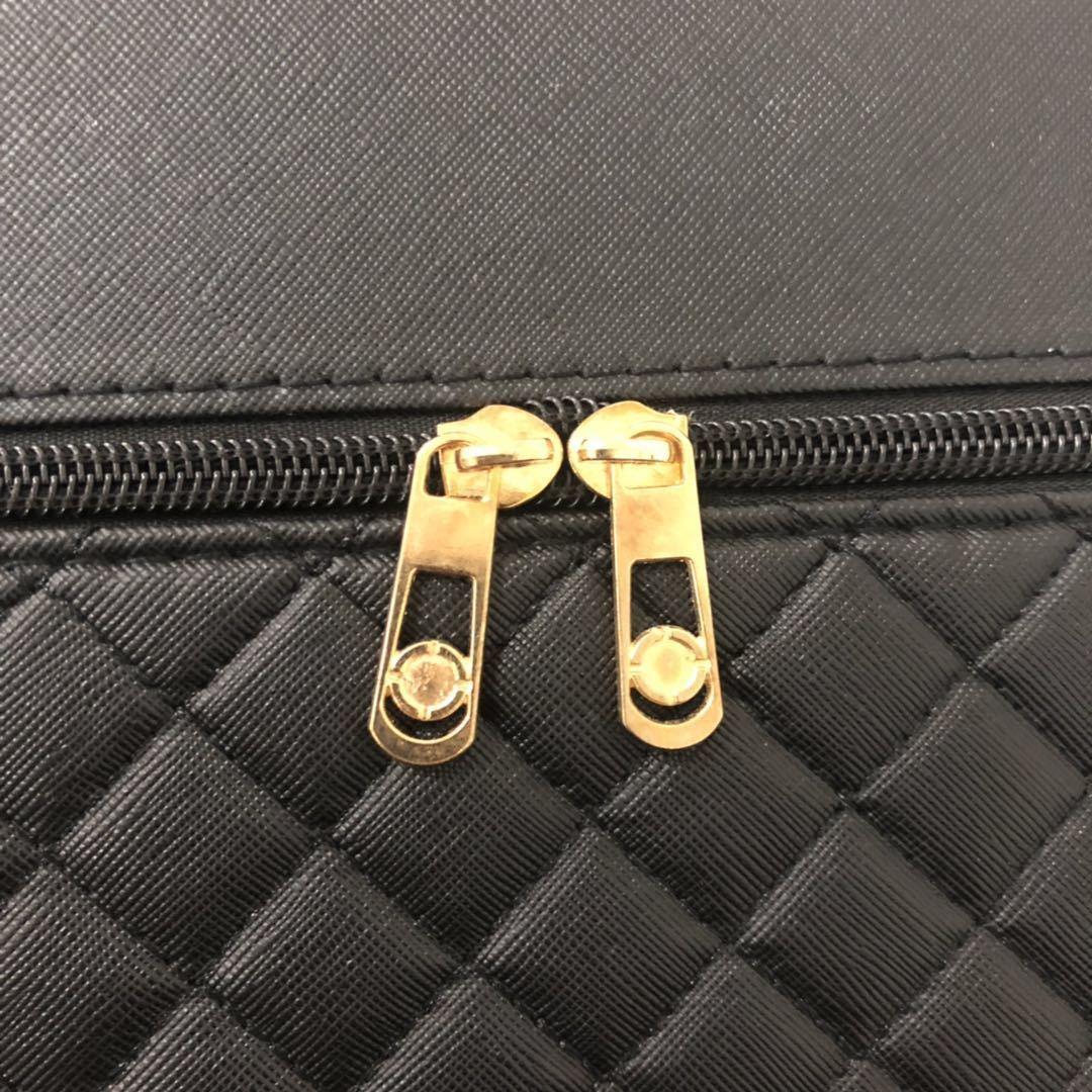 メイクボックス コスメボックス 大容量 化粧箱 収納ケース 小物入 ミラー付 ブラック_画像7