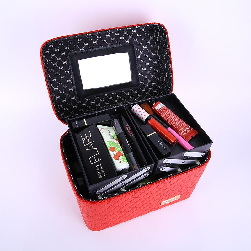 メイクボックス コスメボックス 大容量 化粧箱 収納ケース 小物入 ミラー付 撥水加工 化粧品入り 長持ち レッド_画像2