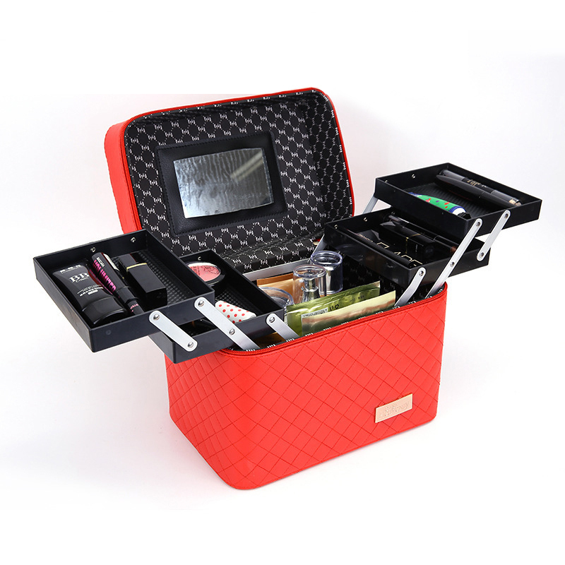 メイクボックス コスメボックス 大容量 化粧箱 収納ケース 小物入 ミラー付 撥水加工 化粧品入り 長持ち レッド_画像1