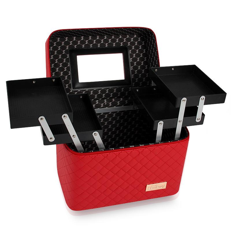 メイクボックス コスメボックス 大容量 化粧箱 収納ケース 小物入 ミラー付 撥水加工 化粧品入り 長持ち レッド_画像3