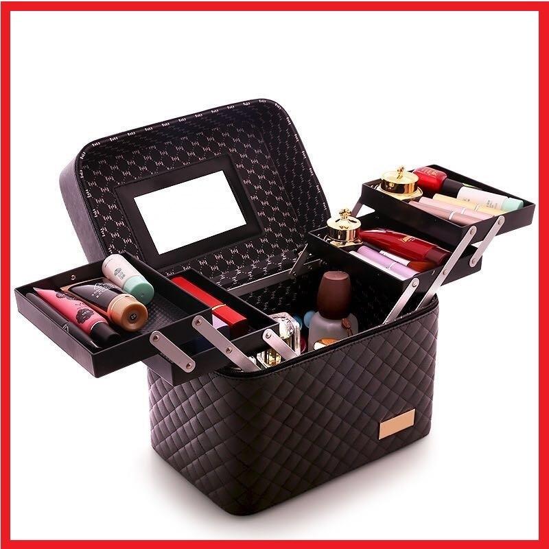 メイクボックス コスメボックス 大容量 化粧箱 収納ケース 小物入 ミラー付 ブラック_画像1