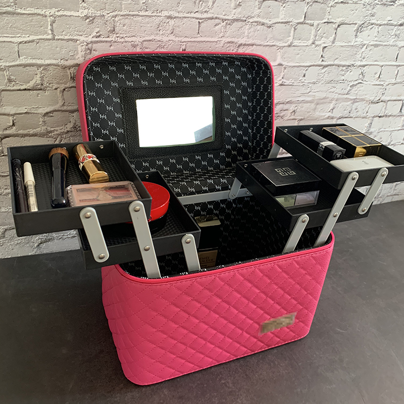 メイクボックス コスメボックス 大容量 化粧箱 収納ケース 小物入 ミラー付 撥水加工 化粧品入り 長持ち ダークピンク_画像1